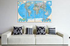 Canvas art print World Map  48 x 31.5  4 Panels by CanvasRevel