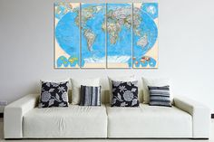 Canvas art print World Map  48 x 31.5  4 Panels by CanvasRevel