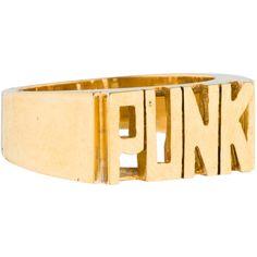 Tom Binns Punk Ring ($75) ❤ liked on Polyvore featuring jewelry, rings, tom binns, letter rings, tom binns jewelry, letter jewelry and initial rings