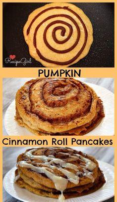 Pumpkin cinnamon roll pancakes!!!   http://www.recipegirl.com/2011/09/22/pumpkin-cinnamon-roll-pancakes/#_a5y_p=1107138