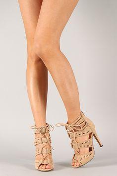 Lace Up Front Heels  Tsaa Heel