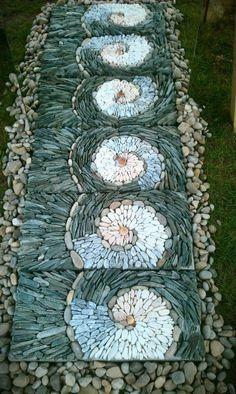 Pebble Garden, Garden Stones, Garden Paths, Garden Landscaping, Rock Garden Art, Concrete Garden, Garden Pool, Easy Garden, Tropical Garden