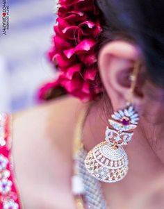 Jewellery Designs: Bride in Spectacular Diamond Jhumka Indian Accessories, Girls Accessories, Bridal Accessories, Wedding Jewelry, Diamond Jhumkas, Diamond Jewelry, Gold Jewelry, Jewelery, Ear Jewelry