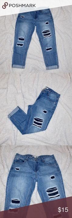 Forever 21 Life In Progress Ripped Jeans Rips are in! These cute jeans are in great condition and have never been machine dried. Size 28 Straight fit jean and bottoms can be unrolled. No trades! Open for offers. Forever 21 Pants Straight Leg