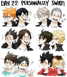 a-zebra-was-here:  haikyuu!! 30 day challenge day 22: personality swap of your choice (between as many people as you want) oh my god this was so weird to do is this even right i'm sorry