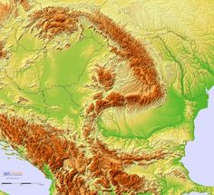 Detailed Terrain Map of Hungary, Romania and the surrounding region