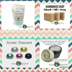Elk River Soap Company, Shower Steamers, Bath Soak, Lotion Bars, Bath Bombs, Rivers, Soaps, Body Care, Essential Oils