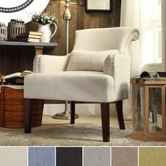 INSPIRE Q Washington Nailhead Roll Back Upholstered Sleigh Club Chair with Pillow - Overstock™ Shopping - Great Deals on INSPIRE Q Living Room Chairs