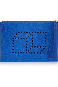 Pierre Hardy | Cube perforated blue washed-leather clutch