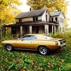 """""""One more payment and the house is mine. I have lived here since 1969 bought the car new"""" - Matthew Scheirer  (What would your caption to this pic be?) #Plymouth #Cuda #Mopar"""