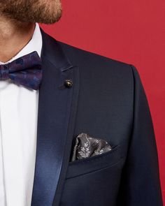 Wedding fashion is all about details! We love the intricate detailing of this tuxedo style dinner jacket by Ted Baker. Suits   Ted Baker   Wedding Outfit   Men's Fashion   Menswear   Dapper Style