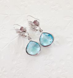 437b745a14f77 Boucles d'oreilles aigue-marine Pâques Leafs boucles d'oreilles avec verre  aigue-marine, quelque chose de bleu, cadeau de demoiselle d'honneur, ...