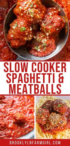 Easy to make Slow Cooker Meatballs cooked in a tomato sauce, ready in 6 hours. Serve with spaghetti for a simple Italian meal. Easy Meat Recipes, Snack Recipes, Cooking Recipes, Rice Dishes, Pasta Dishes, Slow Cooker Spaghetti, Slow Cooker Ribs, Easy Meatloaf, Spaghetti And Meatballs