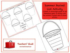 Back To School Bucket List Activity - Transition Teaching Resources and Activities The New School, New School Year, Back To School Displays, Sight Word Activities, Back To School Activities, Summer Bucket Lists, Teaching Resources, Teaching Ideas, Encouragement