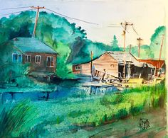 """Finn Slough""  12""x14"" Watercolor, 300 lb Arches.  Painted by Mike Moyer of MJM Art Studio."