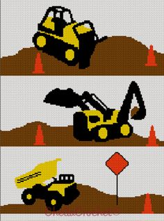 construction zone Crochet Afghan Pattern Graphs