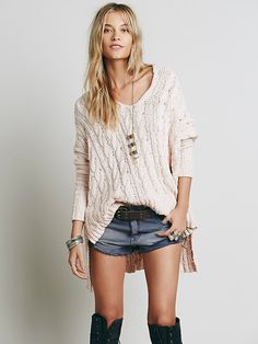 Free People Easy Cable V neck Pullover