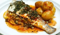 This stuffed sea bass recipe is colourful, hearty and flavourful; the herbs and potatoes compliment the fish and it works a treat with a side salad. Greek Recipes, Fish Recipes, Seafood Recipes, Dinner Recipes, Cooking Recipes, Healthy Recipes, Fish Dishes, Seafood Dishes, Fish And Seafood