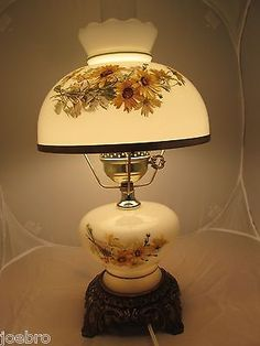 Vintage gwtw floral double globe hurricane lamprewired hurricane white glass hurricane lamp electric daisy brass metal keyboard keysfo Image collections