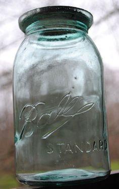 """Vtg 1900-1910 BALL """"TRIPLE L"""" STANDARD QUART BLUE WAX-SEAL CANNING JAR with LID"""