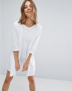 ASOS | ASOS Cotton Smock Dress with Elastic Cuff Detail