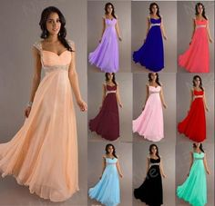 Elegant Chiffon Bridesmaid Dress Evening Party Prom Gown Size 6 8 10 12 14  16   55c8bd5cb121