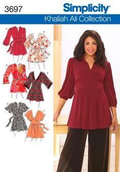 Plus Size Knit Tunics sewing patterns 3697 Khaliah Ali for Simplicity