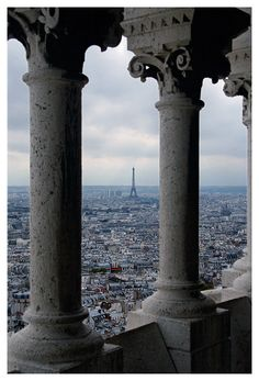 From the Tower of La Basilique du Sacre Coeur du Montmartre, Paris, France.