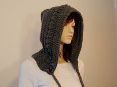 Teen Adult Gray Hoodie, Crochet Hood with Braids and Buttons, Womens Hat, Hooded Cowl, Boho Chic, Winter Hat, Neckwarmer, MarlowsGiftCottage by MarlowsGiftCottage on Etsy