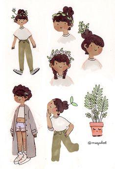 Pretty Like Nature. - megaelod: back to promarkers! Cute Art Styles, Cartoon Art Styles, Character Inspiration, Character Art, Character Design, Aesthetic Drawing, Aesthetic Art, Cute Drawings, Drawing Sketches