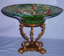 Jose Cire Royo Moser Enameled Glass Large Tazza Gilded Bronze Mount Bowl Spanish
