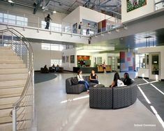 Great visual metaphor, large expanse with enclosed areas part of, but distinct… High Tech High, Hotel Foyer, School Library Design, Visual Metaphor, School Building, Learning Spaces, School Architecture, Outdoor Decor, Projects