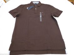 Men's Tommy Hilfiger Polo shirt L large solid NEW 863519689 Chocolate Brown 202 #TommyHilfiger #polo
