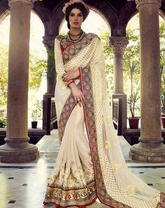 If being unique and trendy is your style, this cream embroidered chiffon and georgette saree. Look ravishing clad with this attire that is enhanced aari, moti, resham and stones work. Trendy Sarees, Fancy Sarees, Party Wear Sarees, Stylish Sarees, Georgette Sarees, Lehenga Choli, Anarkali, Georgette Fabric, Net Saree