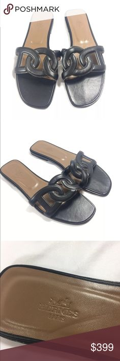 Hermes Omaha Sandals Black Slide Euro 42 US 10 Hermes Omaha Sandals  Black  Euro 42  US 10  No Box  No Dustbag Hermes Shoes Sandals
