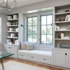 Diy Bench Seat, Storage Bench Seating, Living Room Shelves, Living Room Windows, Kitchen Shelves, Kitchen Built Ins, Kitchen Cabinets, Built In Cabinets, Built In Shelves