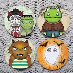 Move Over Munsters  Cute Monster Halloween Mousepad coasters by Polkadotdog