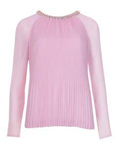 Beaded neckline top - Baby Pink | Tops & Tees | Ted Baker