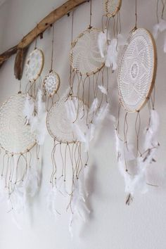 Collection of Lace Dreamcatchers hanging from piece of wood  ❤️