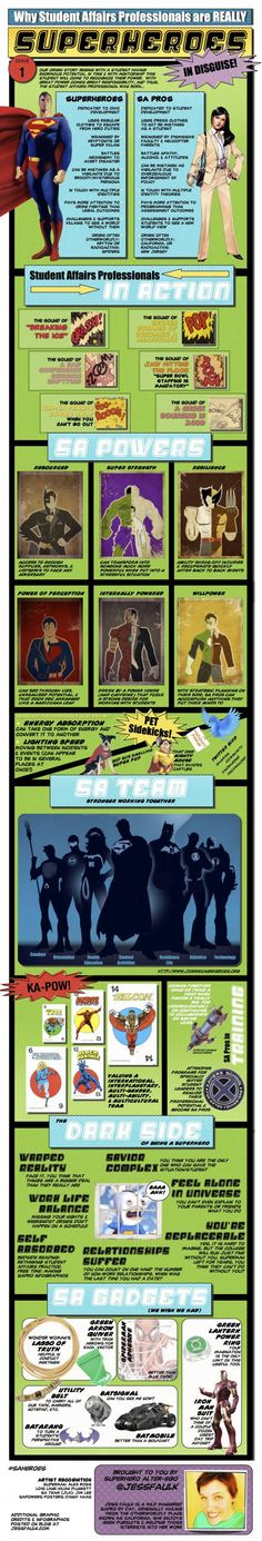 Because we really are superheroes! Student Affairs professionals have been known to display super human powers that have helped them in their mission to protect students and better the College Counseling, Residence Life, Resident Assistant, Res Life, Student Life, Student Success, Professional Development, Higher Education, Good To Know