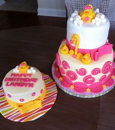 Rubber Duckie Birthday Cake and Smash Cake! Rubber Ducky Birthday, Rubber Ducky Party, Baby Girl First Birthday, 1st Birthday Parties, Birthday Ideas, Birthday Cake, Smash Cake Girl, Girl Cakes, Rubber Duck Cake