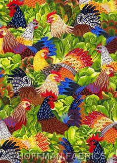 Hoffman Chicken Salad Cotton Fabric Print