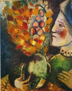 Marc Chagall - 1910, Woman with a Bouquet
