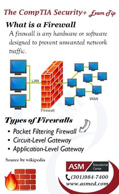 CompTIA Security+ Training / Exam Tip - Firewall.  To get Certified for  CompTIA Security+ Please Repin and Visit : http://www.asmed.com/comptia-security/