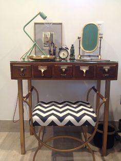 Make-up vanity: repurposed card catalog - added brass legs, reupholstered chevron bench, brass vanity mirror, custom handcrafted lamp