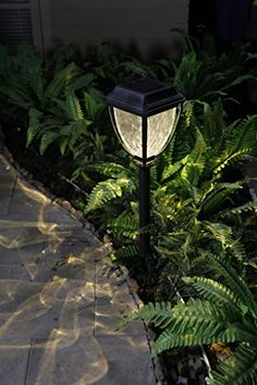Grand Patio Bright Warm White LED Solar Path Lights, Wavy Style Plastic Garden  Lights,