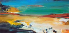 """""""Summertime and the livin is easy,"""" blue and yellow seascape painting by artist Ute Laum 
