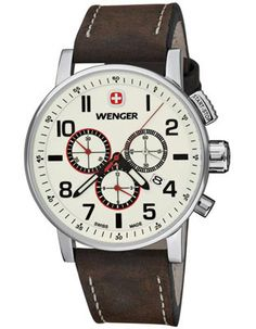 76b2abdf151 Wenger Mens Attitude Chrono - Luminous Dial - Brown Leather Strap - 100M WR