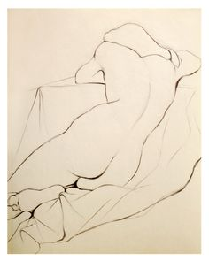 "Poster Size Charcoal Pencil Nude Drawing of a Woman Sleeping, Art Archival Giclee Print - Whisper, 13"" x 19"". by 2forksdesign on Etsy https://www.etsy.com/listing/122679288/poster-size-charcoal-pencil-nude-drawing"