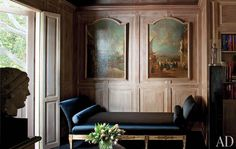 James Galanos - Paintings in the manner of 18th-century Venetian artist Francesco Guardi hang above an antique painted lit de repos upholstered in a Scalamandré silk taffeta.